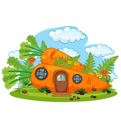 Isolated fantasy carrot house vector