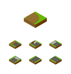 Isometric way set of footer strip driveway and vector