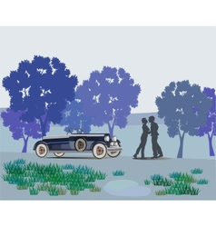 Kissing couple in park vector