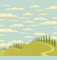 landscape with green hills road and clouds vector image
