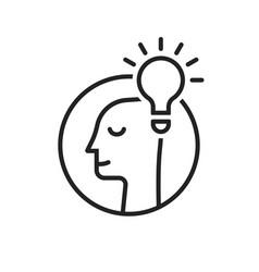 Light bulb with head like insight logo vector