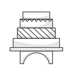 Line delicious and sweet cake to celebrate design vector