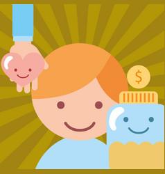 Little boy hand with heart jar money coins donate vector