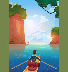 Man floating in boat in mountains lake summer vector