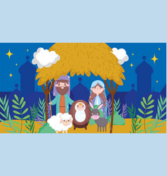 Manger sacred family nativity happy merry vector
