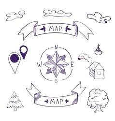 map of sketch vector image
