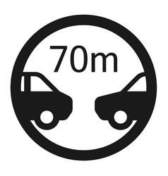 minimum distance 70m sign line icon vector image