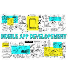 mobile app development with doodle design style vector image