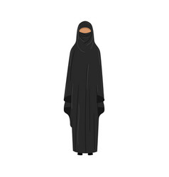 Muslim girl in a traditional ethnic black niqab vector