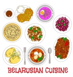 National potato dishes of belarusian cuisine icon vector image
