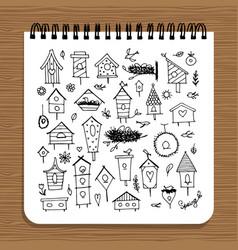 Notebook design birdhouses sketch vector