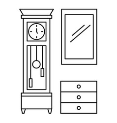 old room clock icon outline style vector image