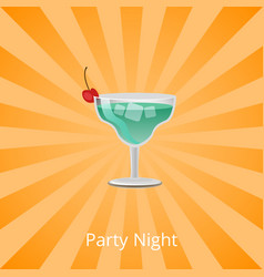 party night margarita decorated cherry cocktail vector image