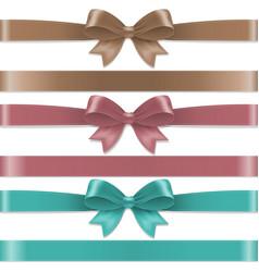 Pastel color bows set vector