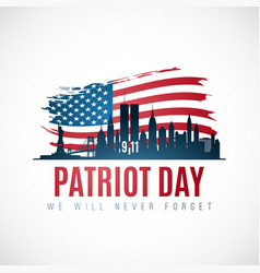 Patriot day banner with new york skyline american vector