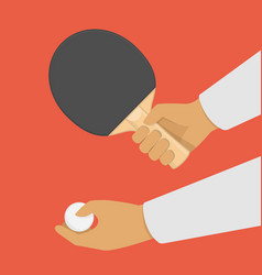 ping pong racket in hand vector image