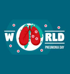 Pneumonia day banner horizontal flat style vector