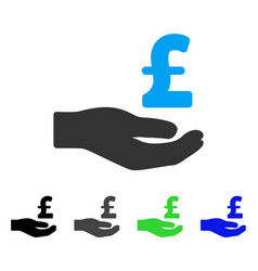 Pound donation hand flat icon vector