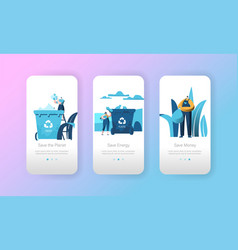 recycle paper garbage bin mobile app page vector image