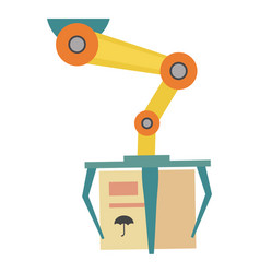 robotic conveyor with cardboard box icon vector image