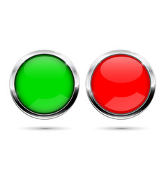 Round buttons green and red with chrome frame vector