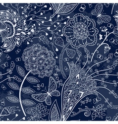 Seamless floral pattern on a dark blue background vector