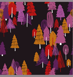 seamless pattern of colorful forest vector image