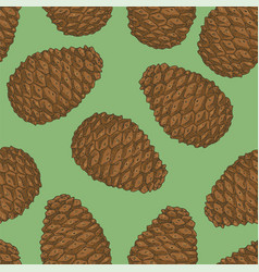 seamless pattern with brown pine cone vector image