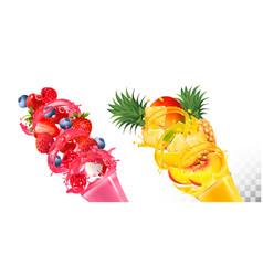set fruit juice splash in glasses vector image