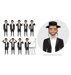 Set of emotions for jew business man vector
