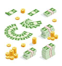 set of isometric money isolated vector image