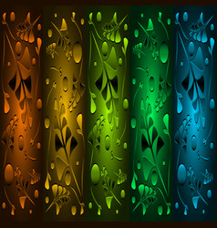 set of precious patterns from metallic green vector image