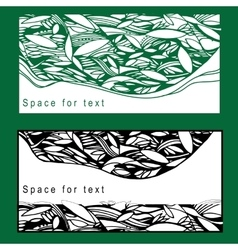 set postcard with foliage for vector image