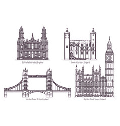 set uk or england famous architecture landmarks vector image