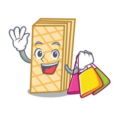 shopping waffle character cartoon style vector image