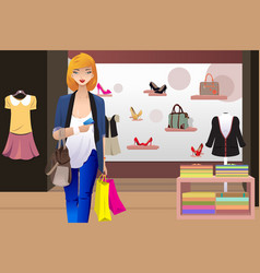 shopping woman inside the clothing store vector image