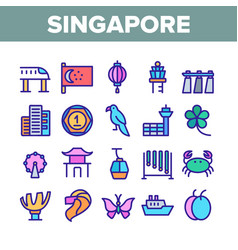 Singapore collection traditional icons set vector