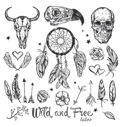 Skull Tattoo Icon Set vector image