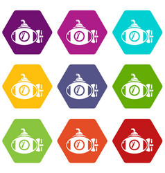 submarine icons set 9 vector image