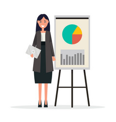 Success businesswoman with graphs on broadsheet vector