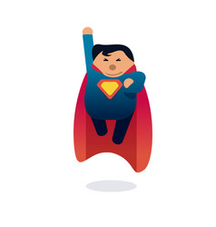 Superhero icon concept fat character flying flat vector