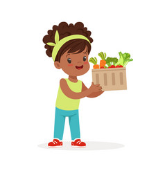 Sweet black little girl holding basket full of vector