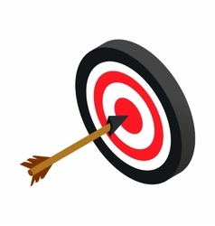 Target with dart isometric 3d icon vector