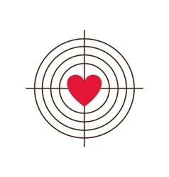 Target with heart icon vector