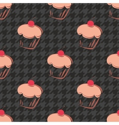 Tile cupcake and black houndstooth pattern vector image