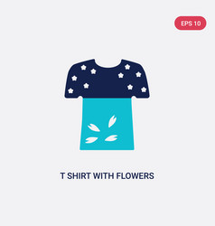 two color t shirt with flowers icon from fashion vector image