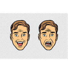 Two men face emotions fear and joy vector