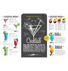 Vintage cocktail menu design beverages menu vector
