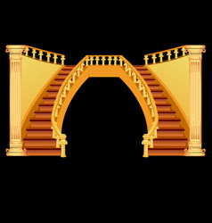 vintage staircase isolated on a black background vector image