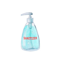 Watercolor sanitizer gel for hand hygiene isolated vector